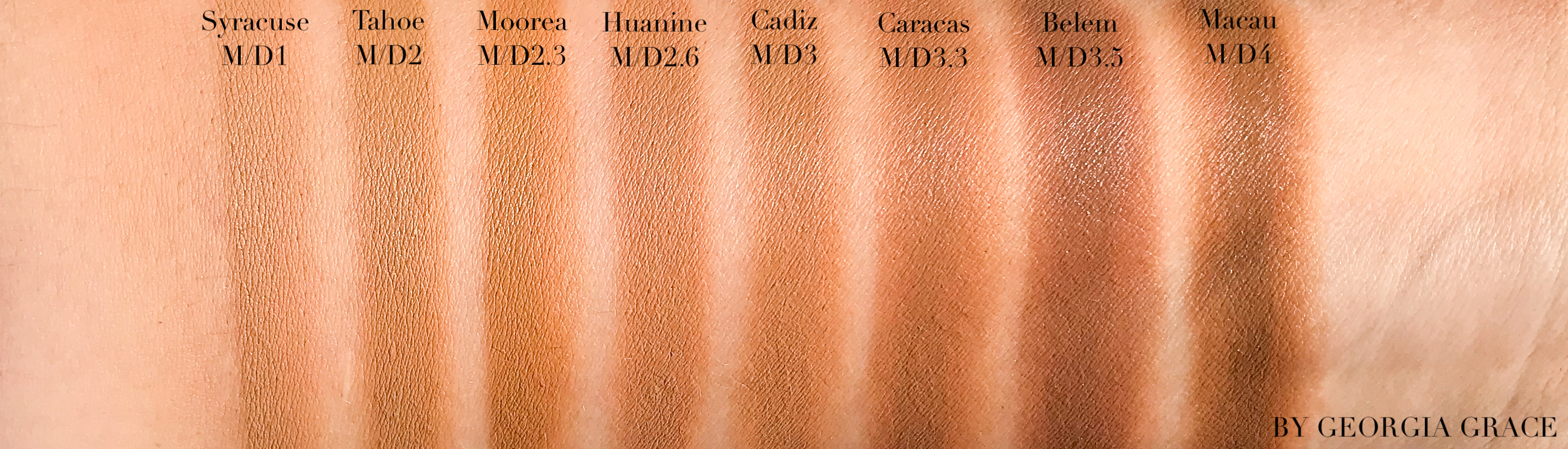 Nars Natural Radiant Longwear Foundation Swatches Review By Georgia Grace