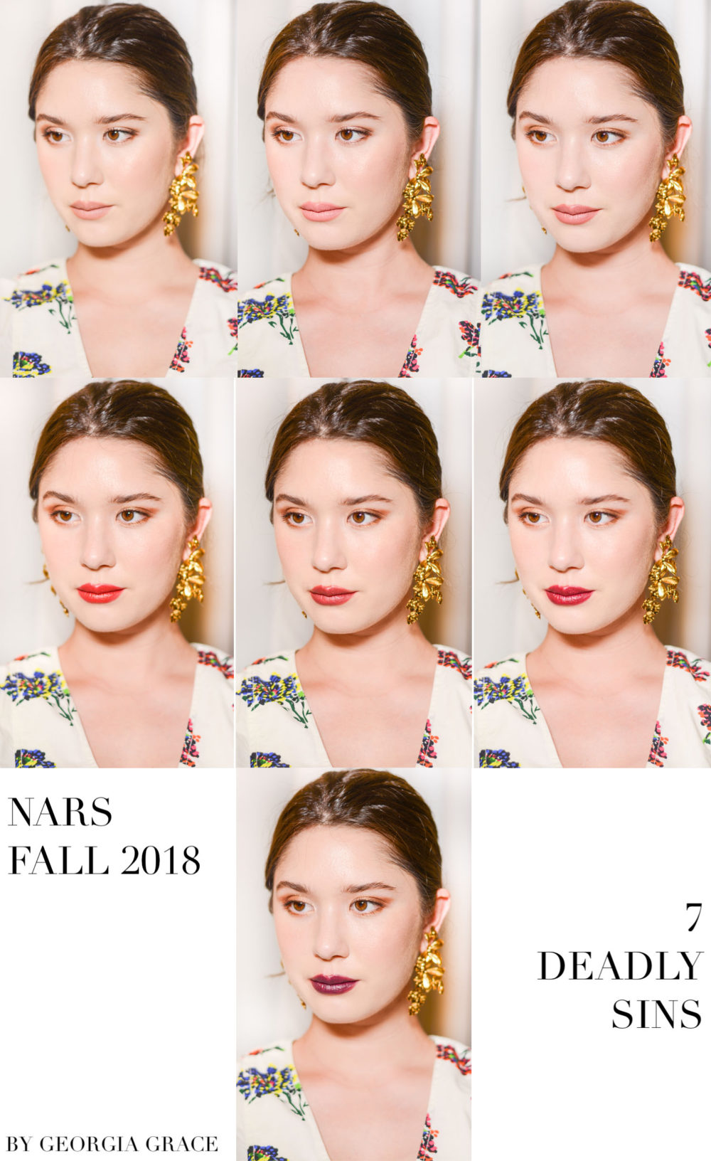NARS Fall 2018 Makeup Collection Review and Swatches 7 Deadly Sins Lip Palette